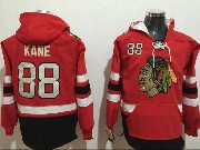 Mens Nhl Chicago Blackhawks #88 Patrick Kane Red One Front Pocket Hoodie Jersey
