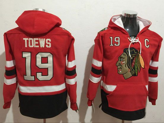 Mens Nhl Chicago Blackhawks #19 Jonathan Toews Red One Front Pocket Hoodie Jersey