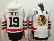 Mens Nhl Chicago Blackhawks #19 Jonathan Toews White One Front Pocket Hoodie Jersey