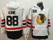 Mens Nhl Chicago Blackhawks #88 Patrick Kane White One Front Pocket Hoodie Jersey