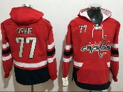 Mens Nhl Washington Capitals #77 Tj Oshie Red One Front Pocket Hoodie Jersey