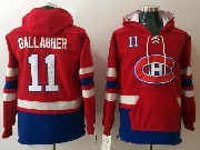 Mens Montreal Canadiens #11 Brendan Gallagher Red One Front Pocket Hoodie Jersey