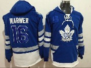 Mens Nhl Toronto Maple Leafs #16 Mitch Marner Blue One Front Pocket Hoodie Jersey