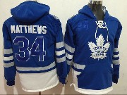 Mens Nhl Toronto Maple Leafs #34 Auston Matthews Blue One Front Pocket Hoodie Jersey