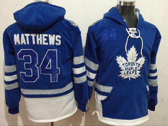 Mens Nhl Toronto Maple Leafs #34 Auston Matthews Blue One Front Pocket Hoodie Jersey