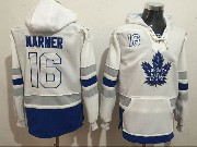 Mens Nhl Toronto Maple Leafs #16 Mitch Marner White One Front Pocket Hoodie Jersey