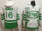 Mens Nhl Toronto Maple Leafs #16 Mitch Marner White Green Ice Hoodie Jersey One Front Pocket