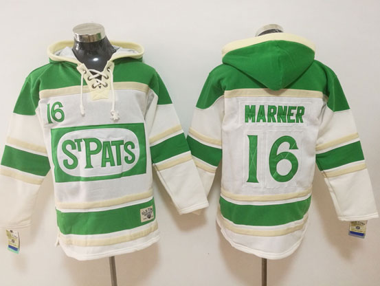 Mens Nhl Toronto Maple Leafs #16 Mitch Marner White Green Ice Hoodie Jersey