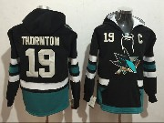 Mens San Jose Sharks #19 Joe Thornton Black One Front Pocket Hoodie Jersey