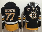 Mens Nhl Boston Bruins #77 Ray Bourque Black One Front Pocket Hoodie Jersey