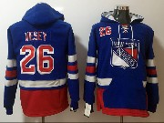 Mens New York Rangers #26 Jimmy Vesey Blue One Front Pocket Hoodie Jersey