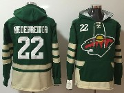 Mens Nhl Minnesota Wild #22 Nino Niederreiter Green One Front Pocket Hoodie Jersey