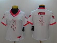 Women Nfl Houston Texans #4 Deshaun Watson White Pink Vapor Untouchable Limited Jersey