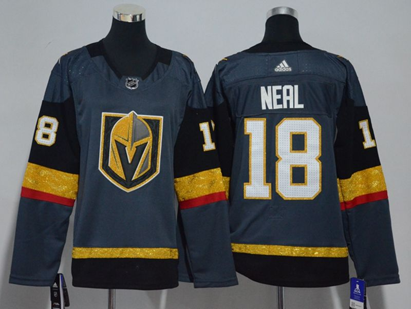 Women Vegas Golden Knights #18 James Neal Gray Hockey Adidas Jersey