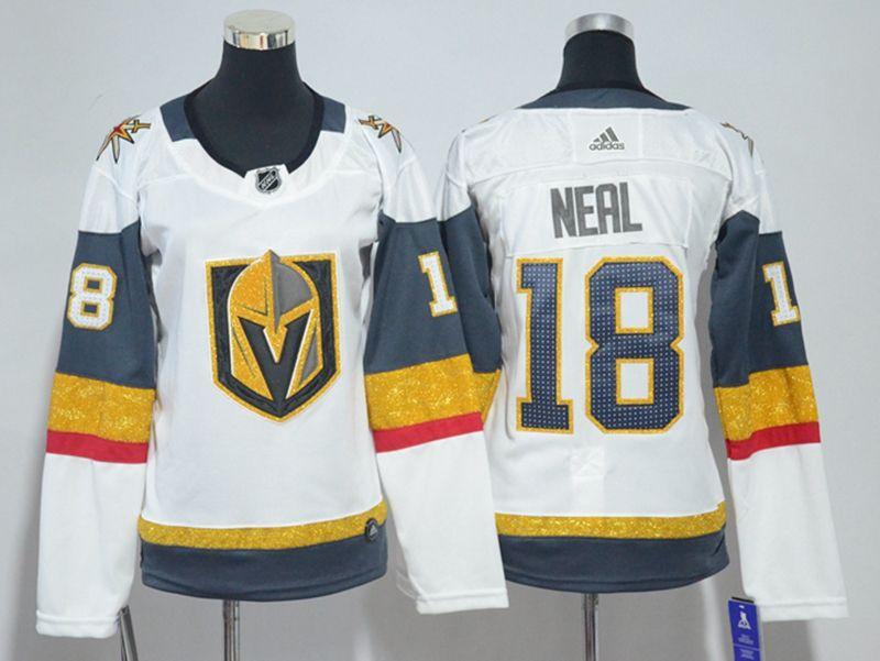 Women Vegas Golden Knights #18 James Neal White Hockey Adidas Jersey