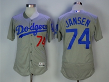 Women Mlb Los Angeles Dodgers #74 Kenley Jansen Grey Flex Base Jersey
