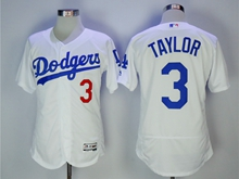 Women Mlb Los Angeles Dodgers #3 Taylor White Flex Base Jersey