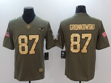 Mens Nfl New England Patriots #87 Rob Gronkowski Green Gold Number Olive Salute To Service Limited Jersey