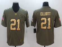 Mens Dallas Cowboys #21 Ezekiel Elliott Green Gold Number Olive Salute To Service Limited Jersey
