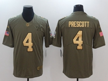 Mens Dallas Cowboys #4 Dak Prescott Green Gold Number Olive Salute To Service Limited Jersey