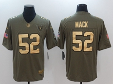Mens Nfl Oakland Raiders #52 Khalil Mack Green Gold Number Olive Salute To Service Limited Jersey