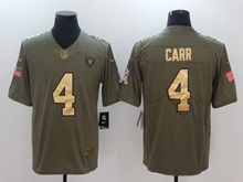 Mens Nfl Oakland Raiders #4 Derek Carr Green Gold Number Olive Salute To Service Limited Jersey
