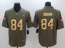 Mens Nfl Pittsburgh Steelers #84 Antonio Brown Green Gold Number Olive Salute To Service Limited Jersey