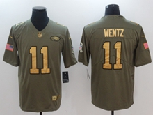 Mens Philadelphia Eagles #11 Carson Wentz Green Gold Number Olive Salute To Service Limited Jersey