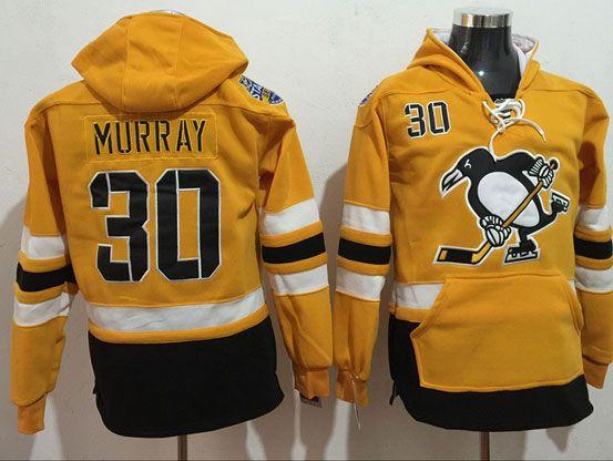 Mens Nhl Pittsburgh Penguins #30 Matt Murray Yellow One Front Pocket Hoodie Jersey