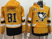 Mens Nhl Pittsburgh Penguins #81 Phil Kessel Yellow One Front Pocket Hoodie Jersey