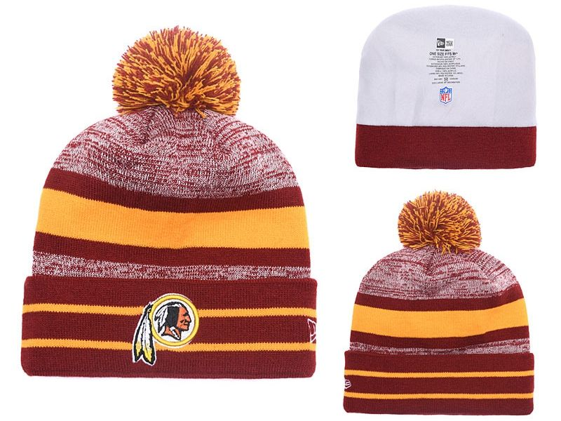 Mens Nfl Washington Redskins Beanies Yellow And Red Hats Pom On Top