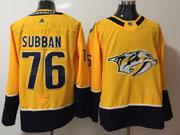 Mens Nhl Nashville Predators #76 P. K. Subban Yellow Adidas Jersey