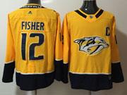 Mens Nhl Nashville Predators #12 Mike Fisher Yellow Adidas Jersey