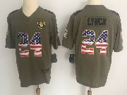 Mens Nfl Oakland Raiders #24 Marshawn Lynch Green Usa Flag Olive Salute To Service Limited Nike Jersey