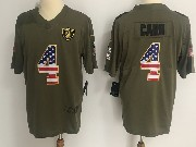 Mens Nfl Oakland Raiders #4 Derek Carr Green Usa Flag Olive Salute To Service Limited Nike Jersey
