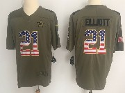 Mens Dallas Cowboys #21 Ezekiel Elliott Green Usa Flag Olive Salute To Service Limited Nike Jersey