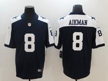 Mens Dallas Cowboys #8 Troy Aikman Blue Thanksgiving Vapor Untouchable Limited Jersey