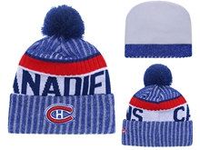 Mens Nhl Montreal Canadiens Blue Stripe Beanies Hats Pom On Top