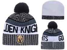 Mens Nhl Vegas Golden Knights Black Stripe Beanies Hats Pom On Top