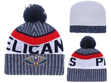 Mens Nba New Orleans Pelicans Blue Stripe Beanies Hats Pom On Top