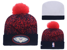 Mens Nba New Orleans Pelicans Black & Red Beanies Hats Pom On Top