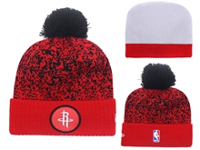 Mens Nba Houston Rockets Red And Black Beanies Hats Pom On Top