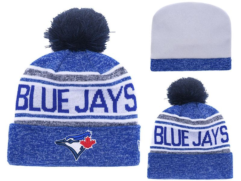 Mens Mlb Toronto Blue Jays Beanies Blue Hats Pom On Top