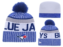 Mens Mlb Toronto Blue Jays Blue Stripe Beanies Hats Pom On Top