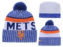 Mens Mlb New York Mets Blue Stripe Beanies Hats Pom On Top