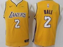 Youth Nba Los Angeles Lakers #2 Lonzo Ball Gold Swingman Nike Jersey
