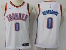 Youth Oklahoma City Thunder #0 Russell Westbrook White Swingman Nike Jersey