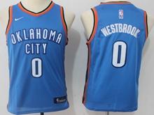 Youth Oklahoma City Thunder #0 Russell Westbrook Blue Swingman Nike Jersey