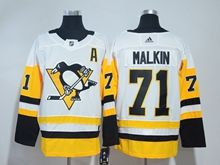 Mens Nhl Pittsburgh Penguins #71 Evgeni Malkin White Premier Player Adidas Jersey A Patch