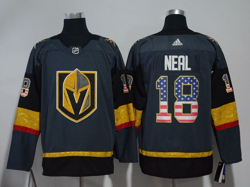 Mens Nhl Vegas Golden Knights #18 James Neal Gray (usa Flag Fashion) Adidas Jersey